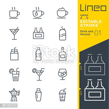 istock Lineo Editable Stroke - Drink and Alcohol line icons 831352234