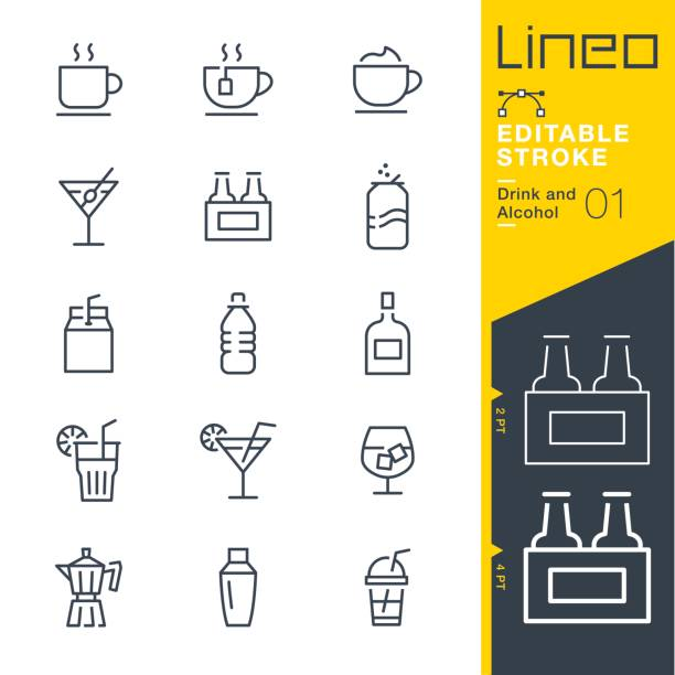 lineo редактируемый инсульт - иконки линии пить и спирта - напиток stock illustrations