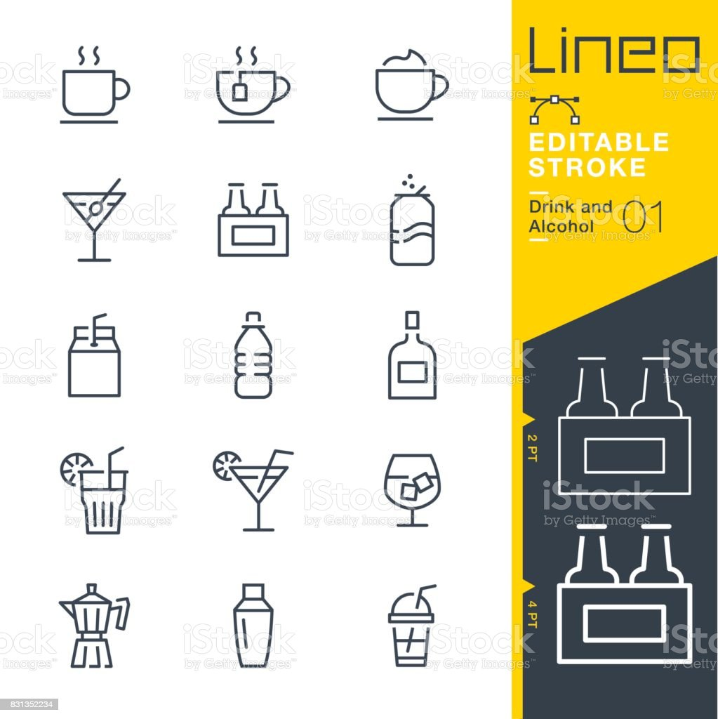 Lineo Editable Stroke - Drink and Alcohol line icons vector art illustration