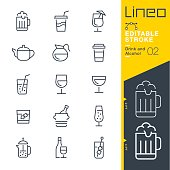 istock Lineo Editable Stroke - Drink and Alcohol line icons 831352262