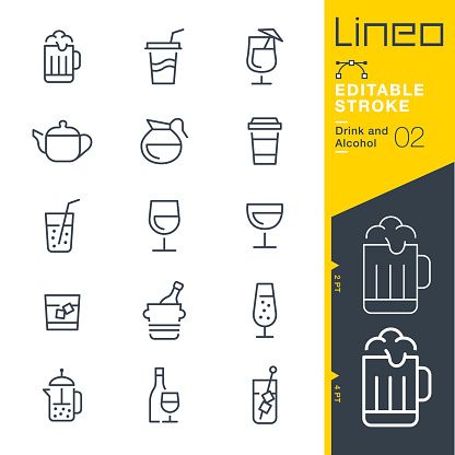 Lineo Editable Stroke - Drink and Alcohol line icons
