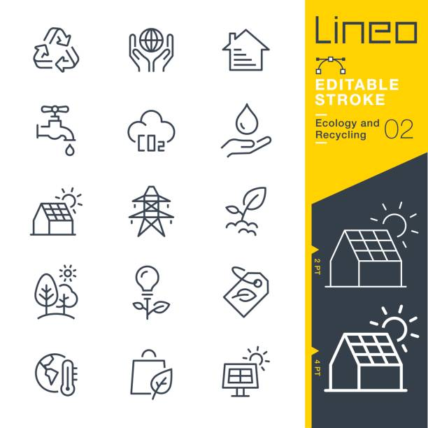 lineo editable stroke - ecology and recycling line icons - energy saving stock illustrations, clip art, cartoons, & icons
