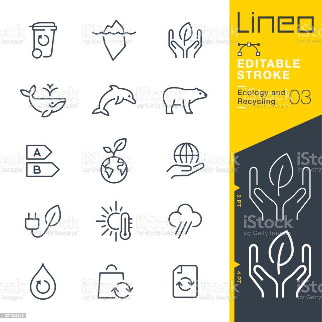 Lineo modifiable AVC - écologie et le recyclage des icônes de la ligne - Illustration vectorielle