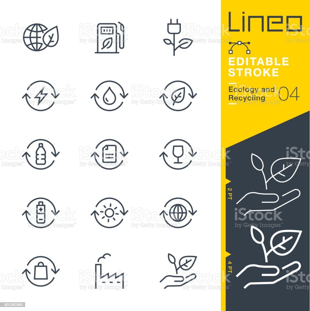 Lineo Editable Stroke - Ecology and Recycling line icons vector art illustration
