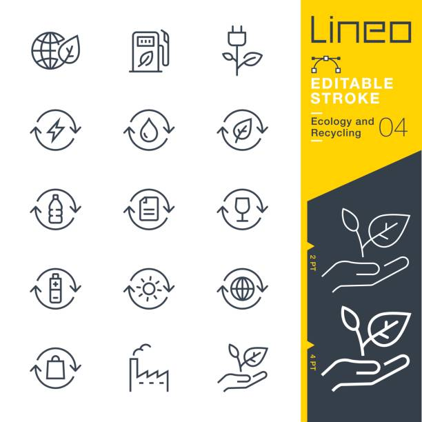 lineo editable stroke - ecology and recycling line icons - sustainability stock illustrations