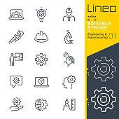 istock Lineo Editable Stroke - Engineering and Manufacturing line icons 1188604040