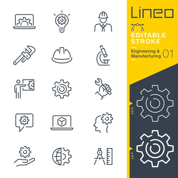 lineo editable stroke - ikony linii inżynierii i produkcji - kask ochronny odzież ochronna stock illustrations