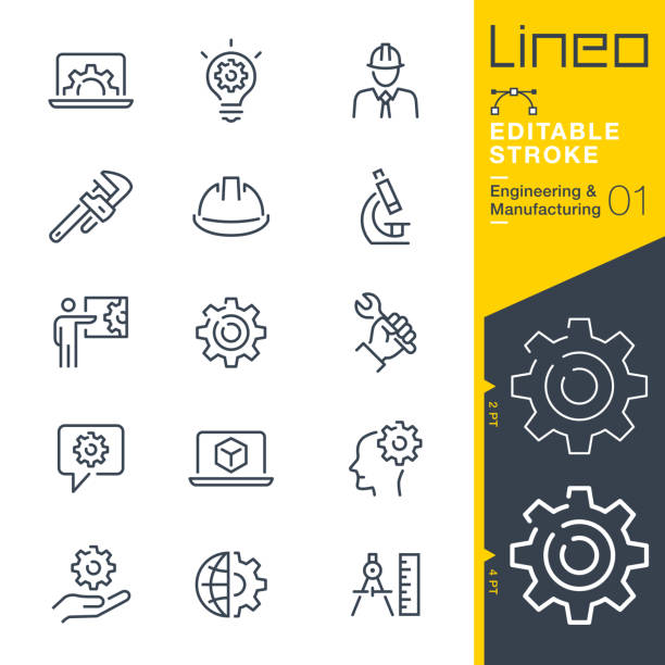 lineo editable stroke - engineering and manufacturing line icons - work stock illustrations