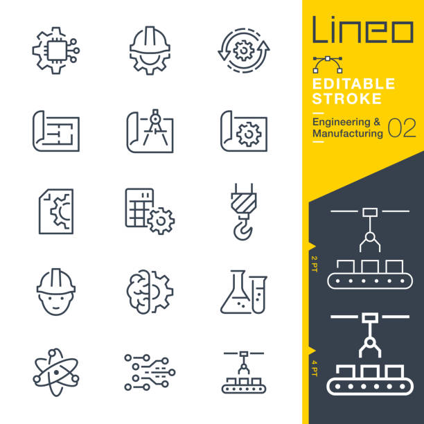 Lineo Editable Stroke - Engineering and Manufacturing line icons Vector icons - Adjust stroke weight - Expand to any size - Change to any colour manufacturing stock illustrations