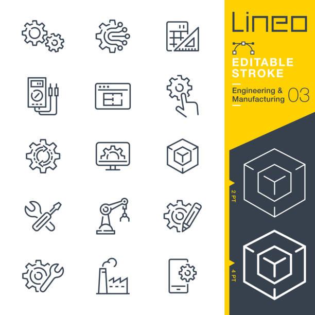 lineo editable stroke - ikony linii inżynierii i produkcji - produkować stock illustrations