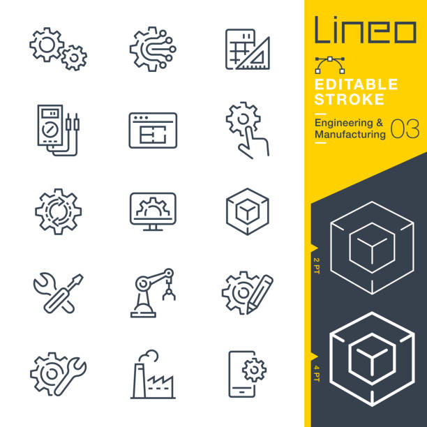 lineo editable stroke - engineering and manufacturing line icons - tools stock illustrations