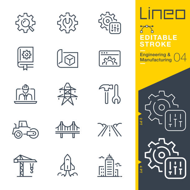 lineo editable stroke - engineering and manufacturing line icons - konstrukcja budowlana stock illustrations