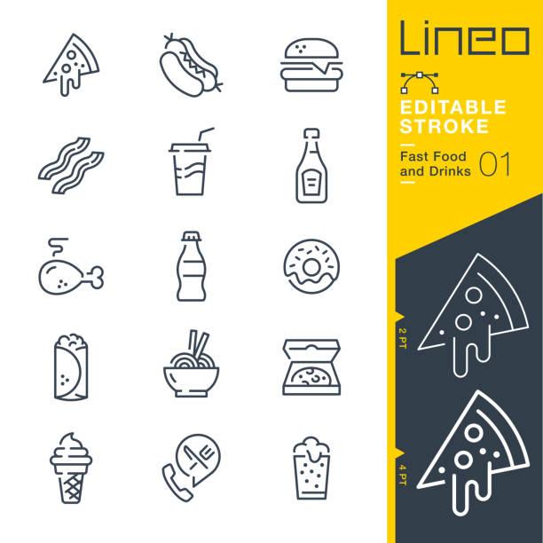 ilustrações de stock, clip art, desenhos animados e ícones de lineo editable stroke - fast food and drinks line icons - food