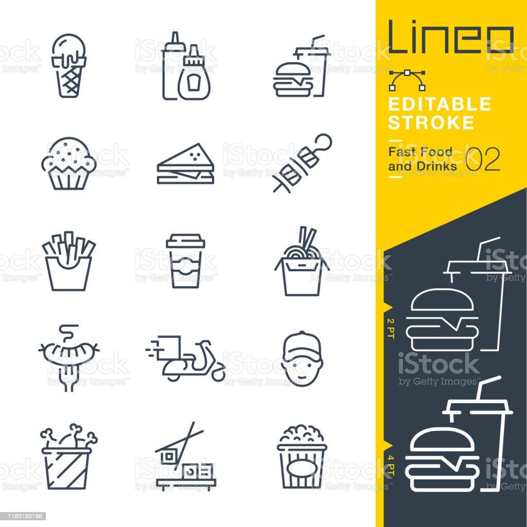 Lineo bewerkbare lijn-Fast Food en dranken lijn iconen - Royalty-free Aardappel vectorkunst