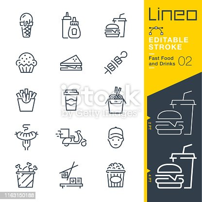 istock Lineo Editable Stroke - Fast Food and Drinks line icons 1163150188