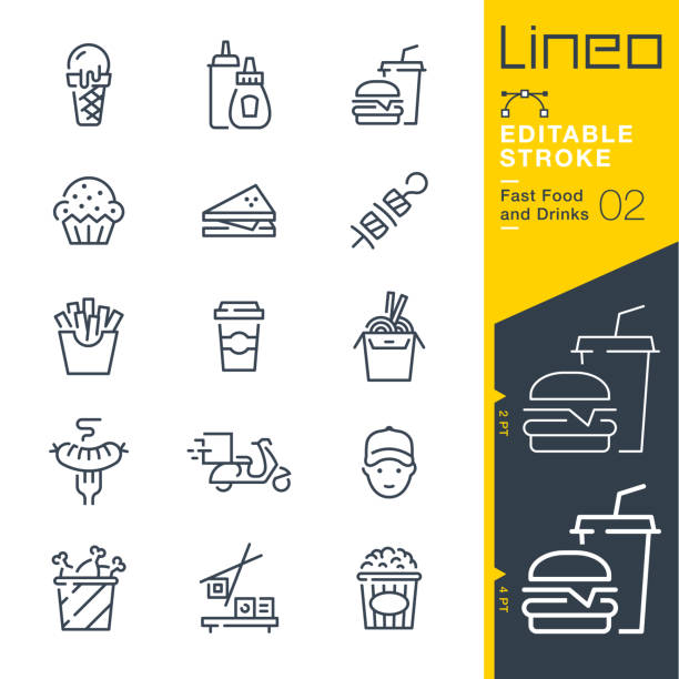 stockillustraties, clipart, cartoons en iconen met lineo bewerkbare lijn-fast food en dranken lijn iconen - friet