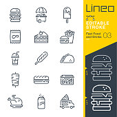 istock Lineo Editable Stroke - Fast Food and Drinks line icons 1163150194