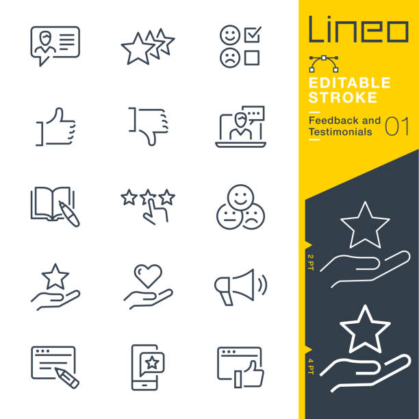 lineo editable stroke - feedback and testimonials line icons - book symbols stock illustrations