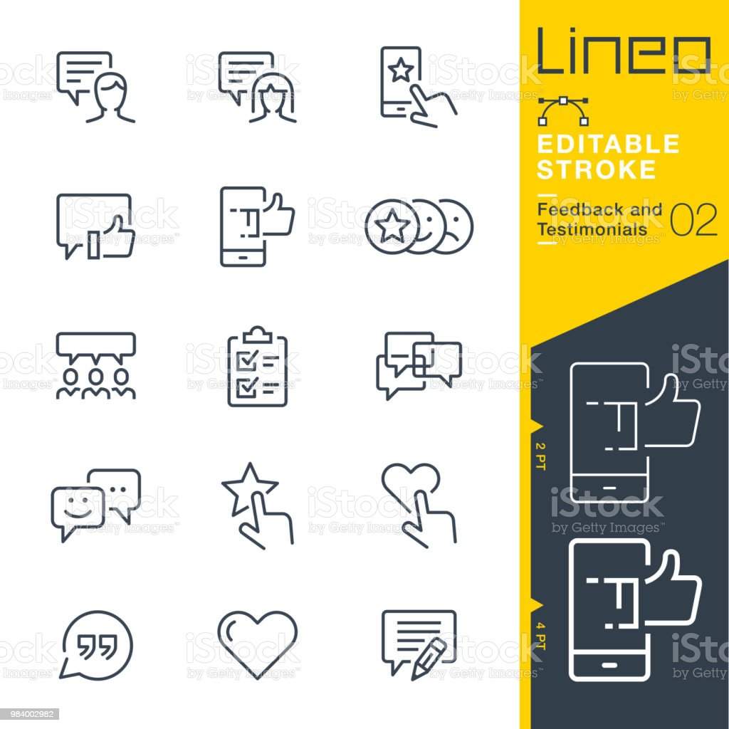 Lineo Editable Stroke - Feedback and Testimonials line icons royalty-free lineo editable stroke feedback and testimonials line icons stock illustration - download image now