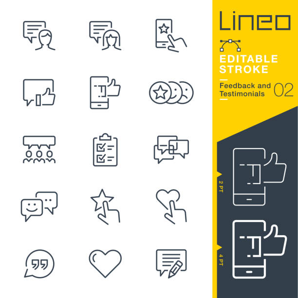 lineo editable stroke - feedback and testimonials line icons - evaluation stock illustrations