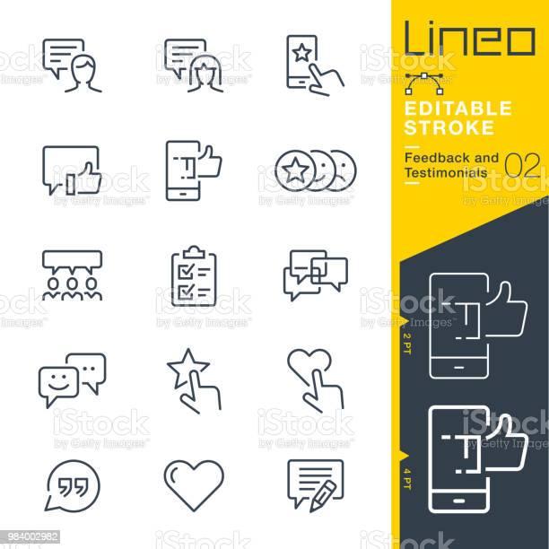 Lineo Editable Stroke Feedback And Testimonials Line Icons — стоковая векторная графика и другие изображения на тему Анкета