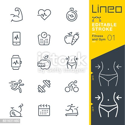 istock Lineo Editable Stroke - Fitness and Gym line icons 831631460