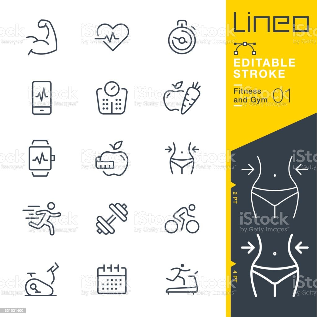Lineo Editable Stroke - Fitness and Gym line icons векторная иллюстрация