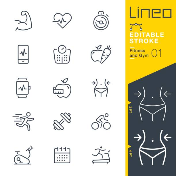 lineo editable stroke - fitness and gym line icons - waga opis fizyczny stock illustrations