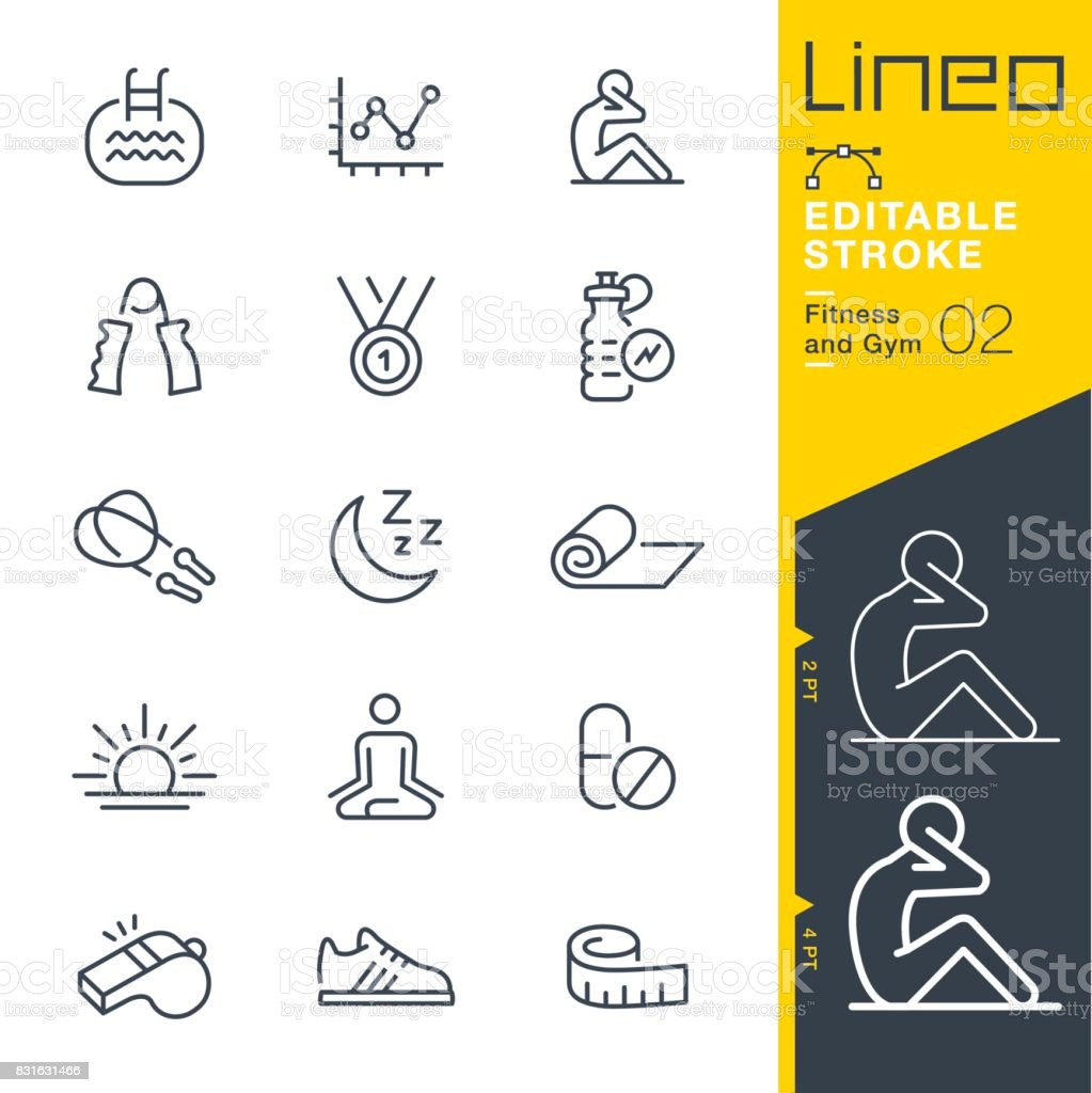 Lineo Editable Stroke - Fitness and Gym line icons royalty-free lineo editable stroke fitness and gym line icons stock illustration - download image now
