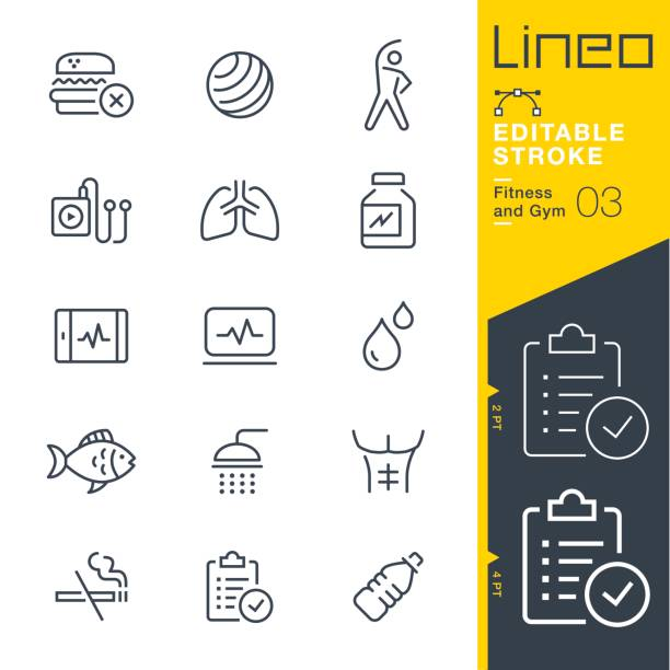lineo editable stroke - fitness and gym line icons - sports medicine stock illustrations, clip art, cartoons, & icons