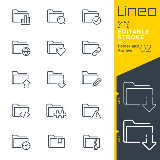 Lineo Editable Stroke - Folder and Archive line icons vector art illustration