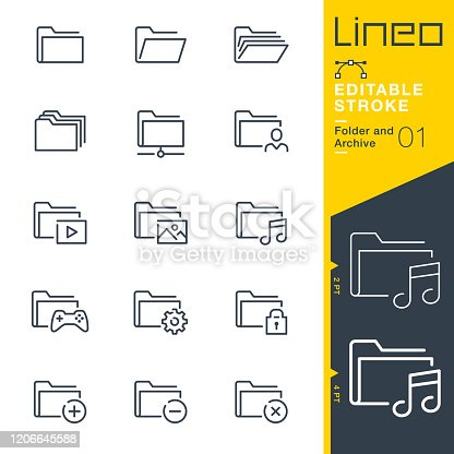 istock Lineo Editable Stroke - Folder and Archive line icons 1206645588