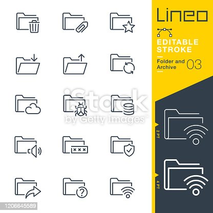 istock Lineo Editable Stroke - Folder and Archive line icons 1206645589