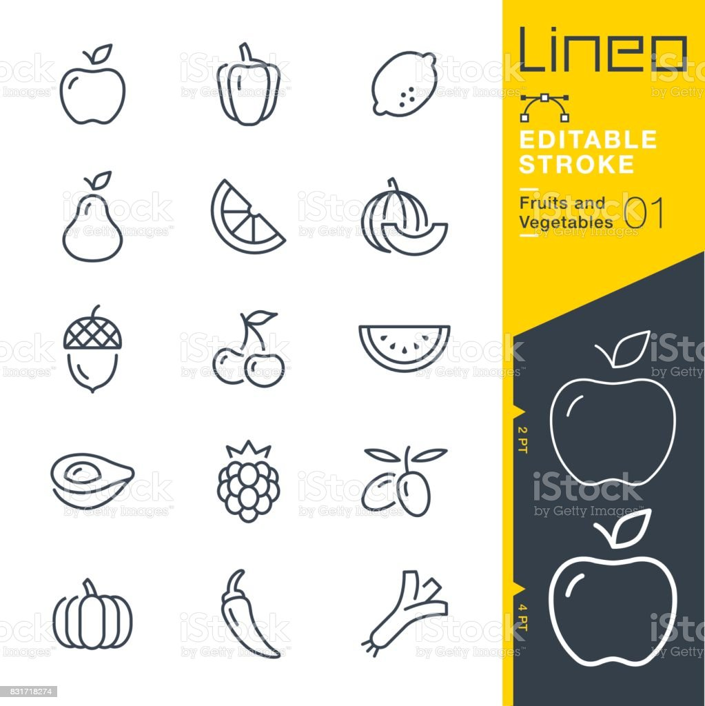 lineo editable stroke fruits and vegetables line icons stock vector
