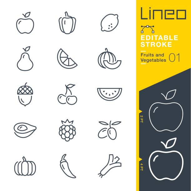 Lineo Editable Stroke - Fruits and Vegetables line icons Vector Icons - Adjust stroke weight - Expand to any size - Change to any colour cherry stock illustrations
