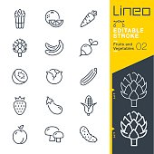 istock Lineo Editable Stroke - Fruits and Vegetables line icons 831718290