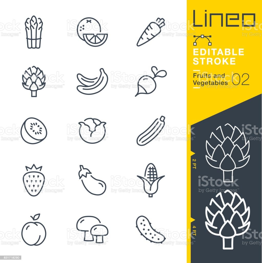 Lineo Editable Stroke - Fruits and Vegetables line icons vector art illustration