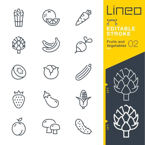 Lineo Editable Stroke - Fruits and Vegetables line icons Vector Icons - Adjust stroke weight - Expand to any size - Change to any colour artichoke stock illustrations