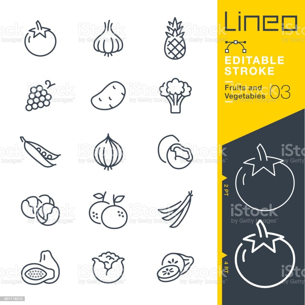 Lineo modifiable AVC - Fruits et légumes line icônes - Illustration vectorielle