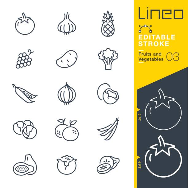 lineo editable stroke - fruits and vegetables line icons - tomato stock illustrations
