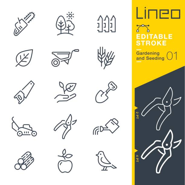 Lineo Editable Stroke - Gardening and Seeding line icons Vector Icons - Adjust stroke weight - Expand to any size - Change to any colour woodland stock illustrations