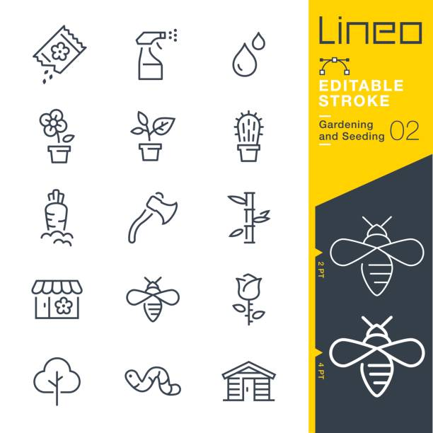 lineo editable stroke - gardening and seeding line icons - garden stock illustrations, clip art, cartoons, & icons
