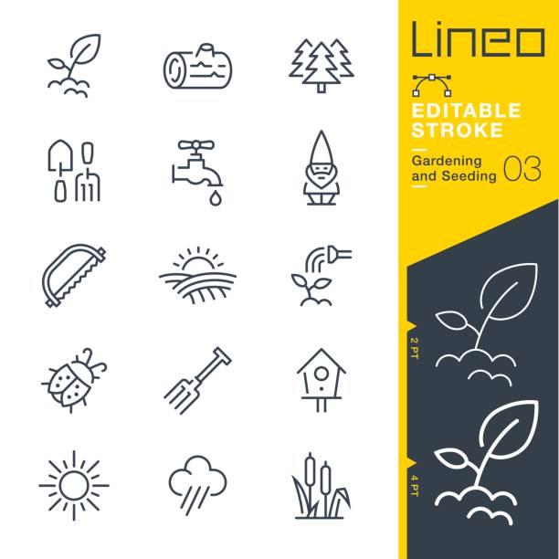 ilustrações, clipart, desenhos animados e ícones de lineo editável stroke - jardinagem e ícones da linha de semeadura - horta