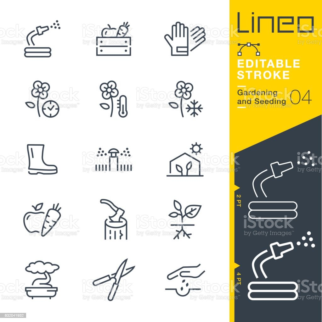 Lineo Editable Stroke - Gardening and Seeding line icons vector art illustration