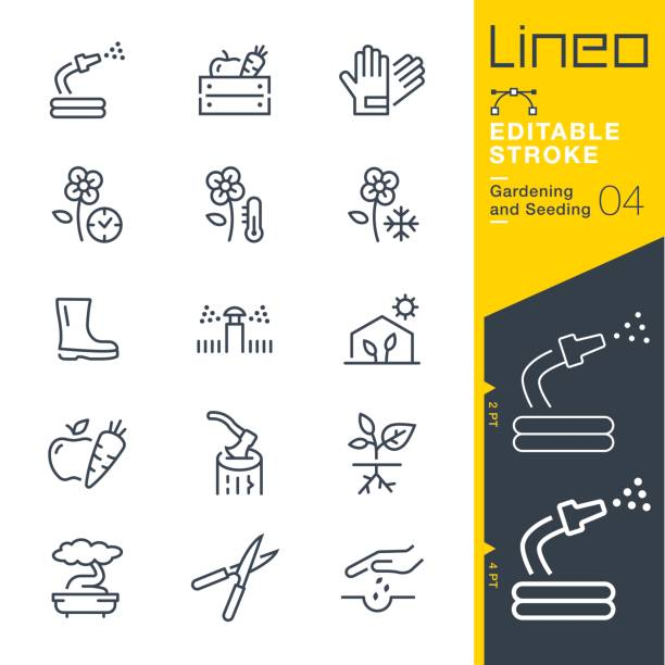 Lineo Editable Stroke - Gardening and Seeding line icons Vector Icons - Adjust stroke weight - Expand to any size - Change to any colour gardening stock illustrations