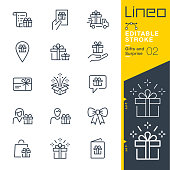 istock Lineo Editable Stroke - Gifts and Surprise line icons 949860406