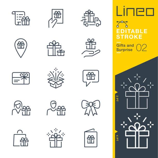 lineo editable stroke - prezenty i ikony linii niespodzianka - gift stock illustrations