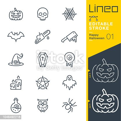 istock Lineo Editable Stroke - Happy Halloween line icons 1046492218