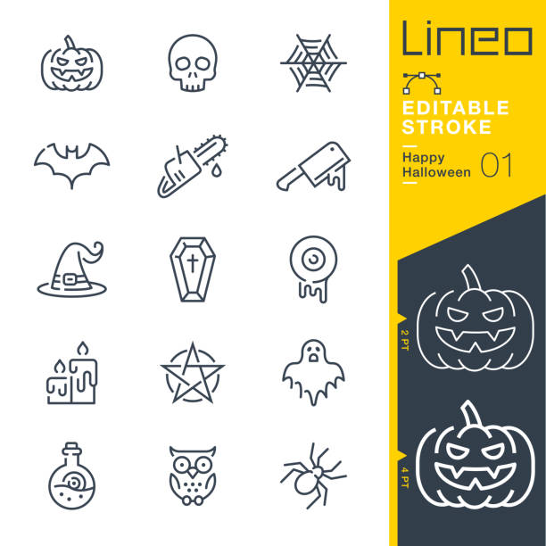 Lineo Editable Stroke - Happy Halloween line icons Vector Icons - Adjust stroke weight - Expand to any size - Change to any colour ghost icon stock illustrations
