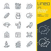 istock Lineo Editable Stroke - Happy Halloween line icons 1048268260